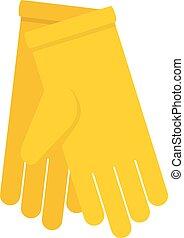 ícone, apartamento, estilo, luvas, amarela