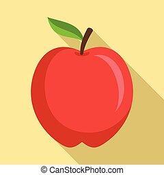 ícone, apartamento, estilo, maçã, vermelho