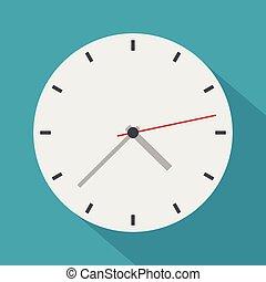 ícone, apartamento, estilo, modernos, relógio