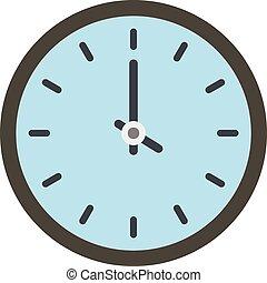 ícone, apartamento, estilo, relógio, tempo