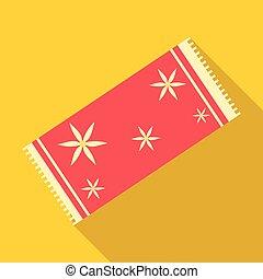 ícone, apartamento, estilo, toalha, vermelho