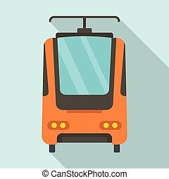 ícone, apartamento, estilo, trem, elétrico