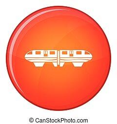ícone, apartamento, estilo, trem, monorail