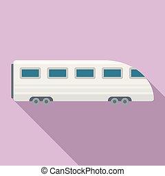 ícone, apartamento, estilo, trem, velocidade