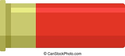 ícone, apartamento, estilo, vermelho, cartucho