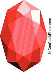 ícone, apartamento, inflexível, style., vermelho