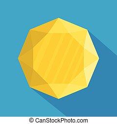 ícone, apartamento, jóia, style., amarela