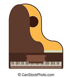ícone, apartamento, piano, estilo, grandioso