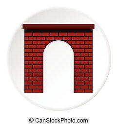 ícone, apartamento, tijolo, arco, estilo