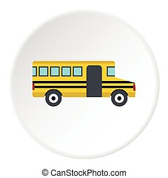 ícone, autocarro, escola, estilo, apartamento