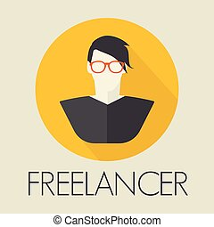 ícone, avatar, freelancer
