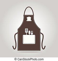 ícone, avental, cozinhar, cozinha, sinal