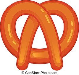 ícone, bavarian, estilo, caricatura, pretzel