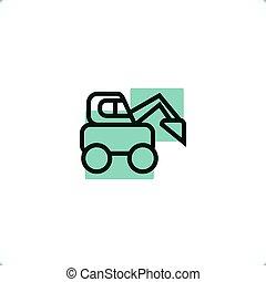 ícone, boi, skid, carregador, construção, vehicles: