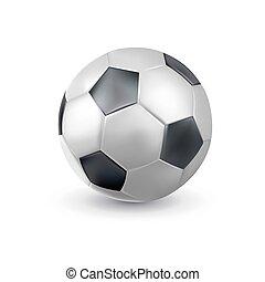 ícone, bola, 3d, desenho, equipment., clássicas, futebol, modelo, futebol, brincando, closeup., realístico