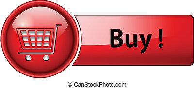 ícone, botão, compra