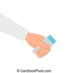 ícone, branca, garrafa, fundo, mão, medicina