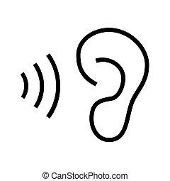 ícone, branca, orelha, fundo, escutar
