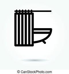 ícone, branca, vetorial, fundo, banheira