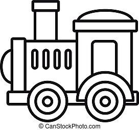 ícone, brinquedo, estilo, trem, esboço