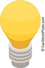 ícone, bulbo, isometric, estilo, amarela