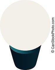 ícone, bulbo, isometric, estilo, economia