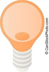 ícone, bulbo, isometric, estilo, luz