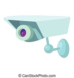 ícone, câmera segurança, estilo, caricatura