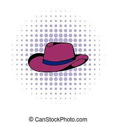 ícone, cômico, estilo, chapéu, boiadeiro