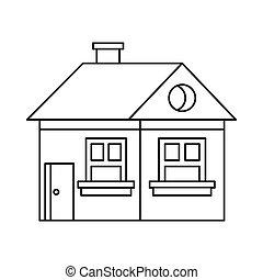 ícone, cabana, estilo, esboço, chaminé