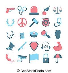 ícone, cadeia, set., idéia, corte, prisão, justiça, lei