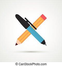ícone, caneta, cor lápis, apartamento