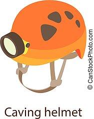 ícone, capacete, isometric, caving, estilo