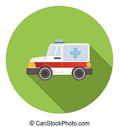 ícone, car, estilo, ambulância, apartamento