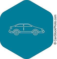 ícone, car, estilo, esboço