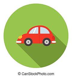 ícone, car, estilo, vermelho, apartamento