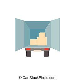 ícone, carga, estilo, caminhão, caricatura