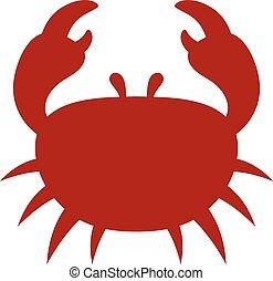 ícone, caricatura, carangueijo, vermelho