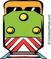 ícone, caricatura, locomotiva