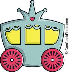 ícone, carruagem, estilo, caricatura, princesa