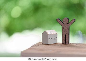 ícone casa, e, pessoas, modelo, ligado, topo madeira, com,...