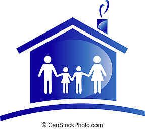 ícone casa, família, logotipo