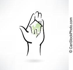 ícone casa, grunge, aquilo, mão