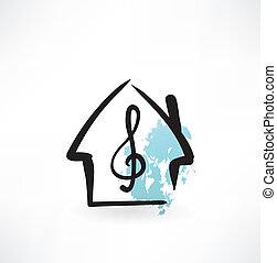 ícone casa, grunge, música