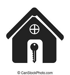 ícone casa, silueta, tecla, monocromático