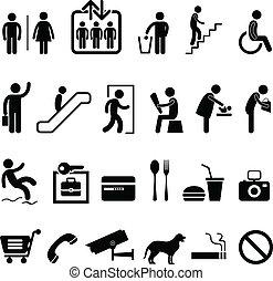 ícone, centro comercial, sinal, público