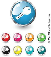 ícone chave, vetorial, jogo