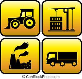 ícone, com, industrial, objetos