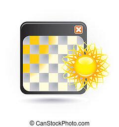 ícone, com, sol