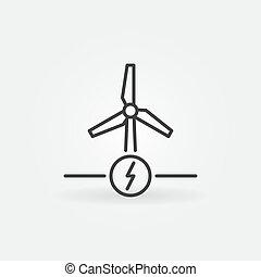 ícone, conceito, energia, poder, vento, vetorial, ou, esboço